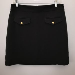 Loft Black Pencil Skirt Pockets Gold Buttons